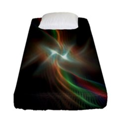 Colorful Waves With Lights Abstract Multicolor Waves With Bright Lights Background Fitted Sheet (single Size) by Simbadda