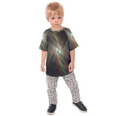 Colorful Waves With Lights Abstract Multicolor Waves With Bright Lights Background Kids  Raglan Tee by Simbadda