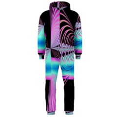 Blue And Pink Swirls And Circles Fractal Hooded Jumpsuit (men)