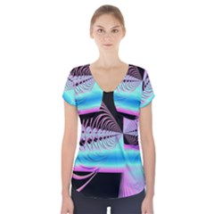 Blue And Pink Swirls And Circles Fractal Short Sleeve Front Detail Top