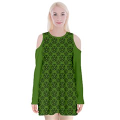 Green Pagan Pentacle Wiccan Velvet Long Sleeve Shoulder Cutout Dress by cheekywitch