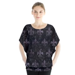 Royal1 Black Marble & Black Watercolor (r) Batwing Chiffon Blouse by trendistuff