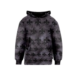 Royal1 Black Marble & Black Watercolor Kids  Pullover Hoodie by trendistuff