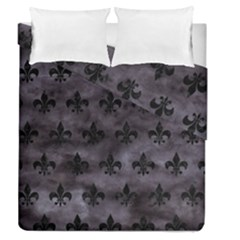 Royal1 Black Marble & Black Watercolor Duvet Cover Double Side (queen Size) by trendistuff