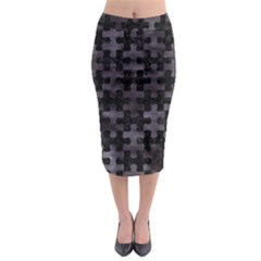 Puzzle1 Black Marble & Black Watercolor Midi Pencil Skirt by trendistuff