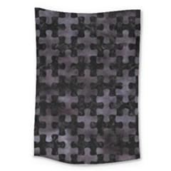 Puzzle1 Black Marble & Black Watercolor Large Tapestry by trendistuff