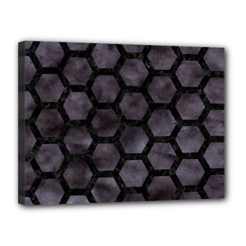 Hexagon2 Black Marble & Black Watercolor (r) Canvas 16  X 12  (stretched) by trendistuff