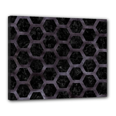Hexagon2 Black Marble & Black Watercolor Canvas 20  X 16  (stretched) by trendistuff