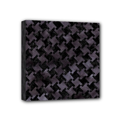 Houndstooth2 Black Marble & Black Watercolor Mini Canvas 4  X 4  (stretched) by trendistuff