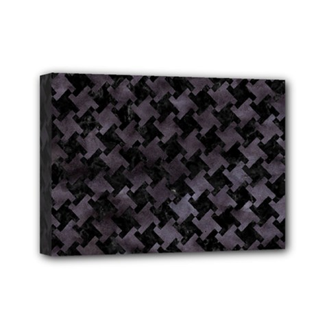 Houndstooth2 Black Marble & Black Watercolor Mini Canvas 7  X 5  (stretched) by trendistuff