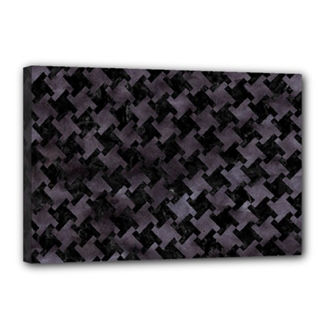 Houndstooth2 Black Marble & Black Watercolor Canvas 18  X 12  (stretched) by trendistuff