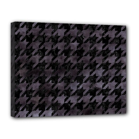 Houndstooth1 Black Marble & Black Watercolor Canvas 14  X 11  (stretched) by trendistuff