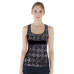 Houndstooth1 Black Marble & Black Watercolor Racer Back Sports Top by trendistuff