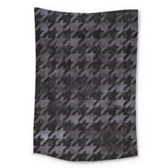 Houndstooth1 Black Marble & Black Watercolor Large Tapestry by trendistuff