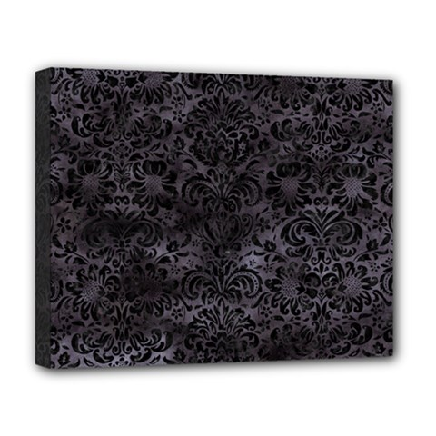 Damask2 Black Marble & Black Watercolor (r) Deluxe Canvas 20  X 16  (stretched) by trendistuff