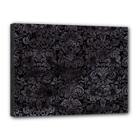 Damask2 Black Marble & Black Watercolor Canvas 16  X 12  (stretched) by trendistuff