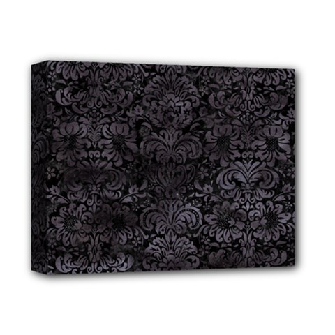 Damask2 Black Marble & Black Watercolor Deluxe Canvas 14  X 11  (stretched) by trendistuff