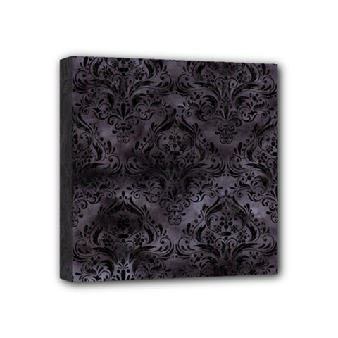 Damask1 Black Marble & Black Watercolor (r) Mini Canvas 4  X 4  (stretched) by trendistuff