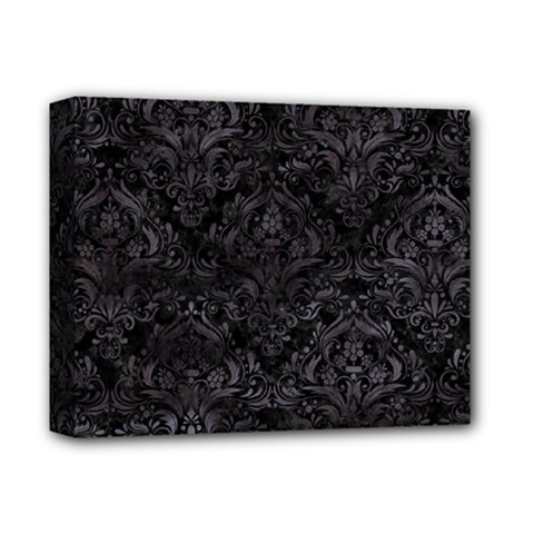 Damask1 Black Marble & Black Watercolor Deluxe Canvas 14  X 11  (stretched) by trendistuff