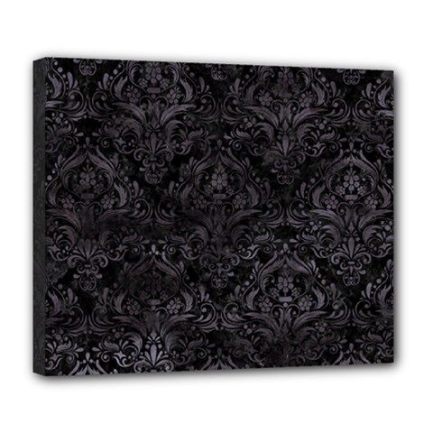 Damask1 Black Marble & Black Watercolor Deluxe Canvas 24  X 20  (stretched)