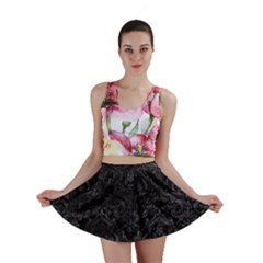 Damask1 Black Marble & Black Watercolor Mini Skirt by trendistuff