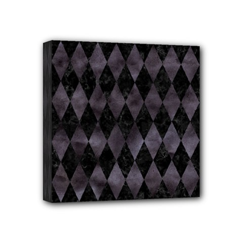 Diamond1 Black Marble & Black Watercolor Mini Canvas 4  X 4  (stretched) by trendistuff
