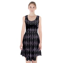 Diamond1 Black Marble & Black Watercolor Racerback Midi Dress