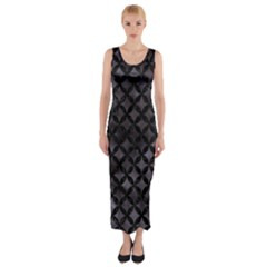 Circles3 Black Marble & Black Watercolor (r) Fitted Maxi Dress by trendistuff