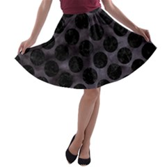 Circles2 Black Marble & Black Watercolor (r) A Line Skater Skirt by trendistuff