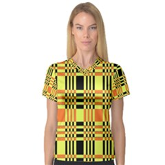 Yellow Orange And Black Background Plaid Like Background Of Halloween Colors Orange Yellow And Black Women s V Neck Sport Mesh Tee