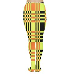 Yellow Orange And Black Background Plaid Like Background Of Halloween Colors Orange Yellow And Black Women s Tights by Simbadda