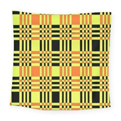 Yellow Orange And Black Background Plaid Like Background Of Halloween Colors Orange Yellow And Black Square Tapestry (large) by Simbadda