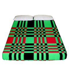 Bright Christmas Abstract Background Christmas Colors Of Red Green And Black Make Up This Abstract Fitted Sheet (queen Size) by Simbadda