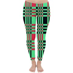 Bright Christmas Abstract Background Christmas Colors Of Red Green And Black Make Up This Abstract Classic Winter Leggings by Simbadda