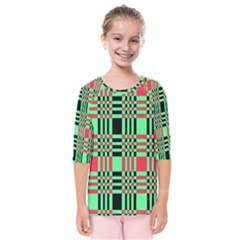 Bright Christmas Abstract Background Christmas Colors Of Red Green And Black Make Up This Abstract Kids  Quarter Sleeve Raglan Tee