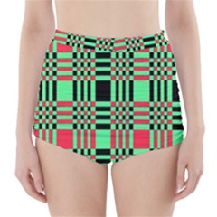 Bright Christmas Abstract Background Christmas Colors Of Red Green And Black Make Up This Abstract High Waisted Bikini Bottoms