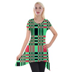 Bright Christmas Abstract Background Christmas Colors Of Red Green And Black Make Up This Abstract Short Sleeve Side Drop Tunic by Simbadda