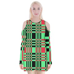 Bright Christmas Abstract Background Christmas Colors Of Red Green And Black Make Up This Abstract Velvet Long Sleeve Shoulder Cutout Dress