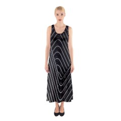 Chrome Abstract Pile Of Chrome Chairs Detail Sleeveless Maxi Dress