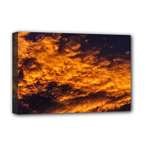 Abstract Orange Black Sunset Clouds Deluxe Canvas 18  X 12   by Simbadda