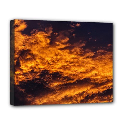 Abstract Orange Black Sunset Clouds Deluxe Canvas 20  X 16   by Simbadda