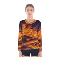 Abstract Orange Black Sunset Clouds Women s Long Sleeve Tee by Simbadda