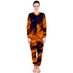 Abstract Orange Black Sunset Clouds Onepiece Jumpsuit (ladies)