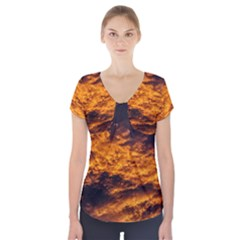 Abstract Orange Black Sunset Clouds Short Sleeve Front Detail Top