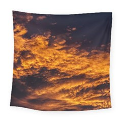 Abstract Orange Black Sunset Clouds Square Tapestry (large) by Simbadda