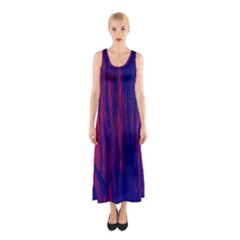 Abstract Color Red Blue Sleeveless Maxi Dress