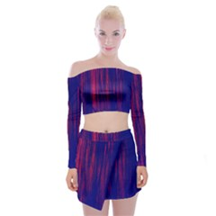 Abstract Color Red Blue Off Shoulder Top With Skirt Set