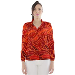 Orange Abstract Background Wind Breaker (women) by Simbadda