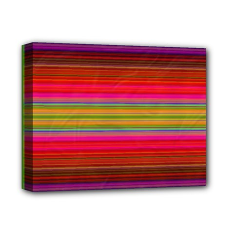 Fiesta Stripe Bright Colorful Neon Stripes Cinco De Mayo Background Deluxe Canvas 14  X 11  by Simbadda