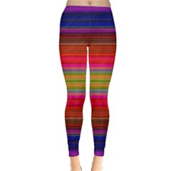 Fiesta Stripe Bright Colorful Neon Stripes Cinco De Mayo Background Leggings  by Simbadda
